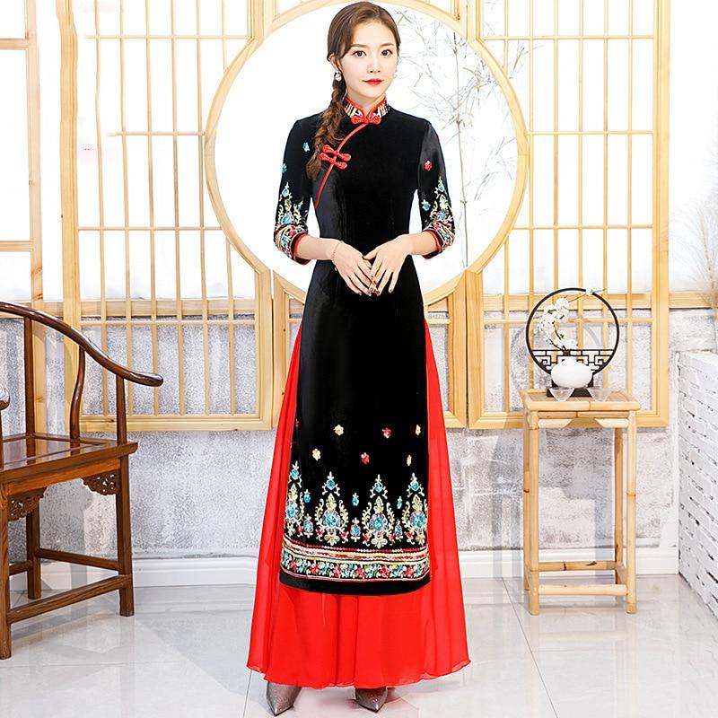 Vestidos de Noche de Vietnam de Ao Dai, Vestido largo de Boda China tradicional, ropa de mujer moderna de talla grande Cheongsam Qipao