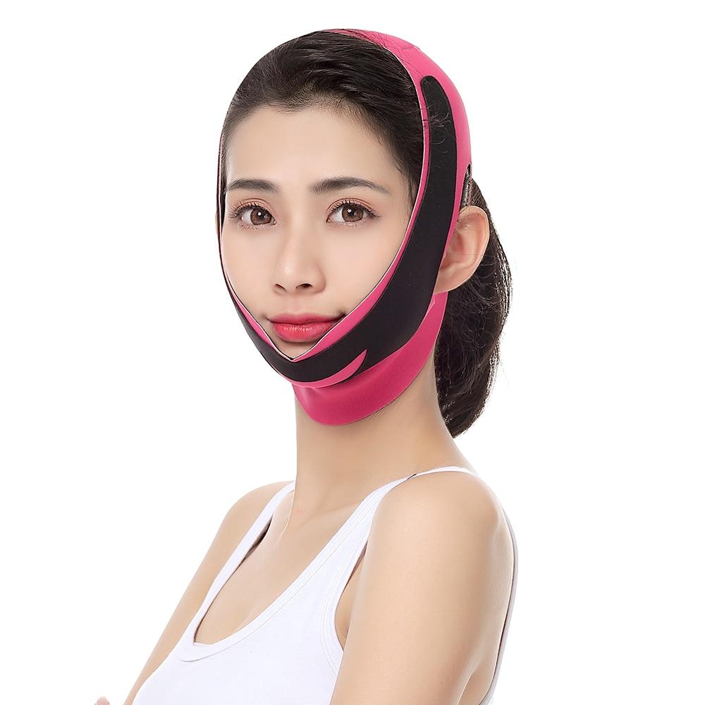 Розовый и черный цвет уменьшить двойной подбородок регулируемый V лицо бинт тонкий лицевой пояс лифтинг лица для похудения красота инструменты STL4