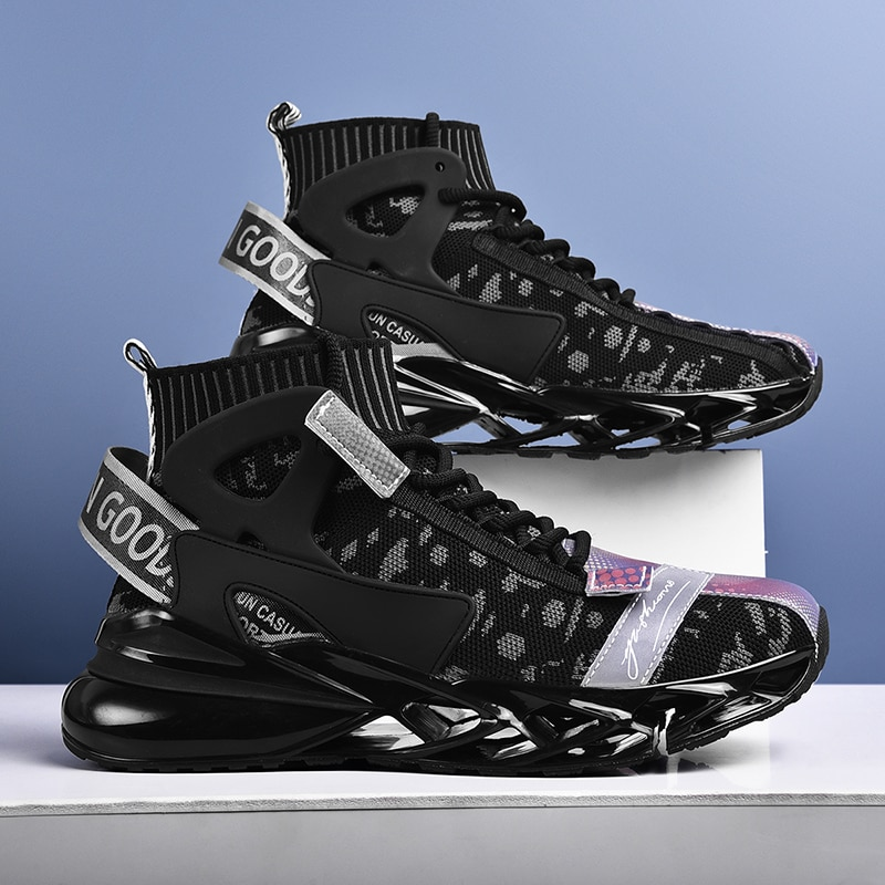 High-Top Blade Sock Sneakers Men Running Shoes For Men Air Cushion Outdoor Jogging Zapatillas Mesh B