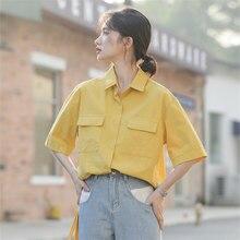 Retro Summer Women Blouses Shirt Solid Turn-down Collar Office Shirt Blouse Korean Casual BF Short Sleeve Tops Blusas Femininas