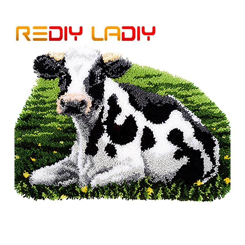 Latch Hook Rug Kits Make Your Own Rug Farm Cow Crocheting Cushion Mat DIY Carpet Rug Acrylic Yarn Printed Canvas Hobby & Crafts