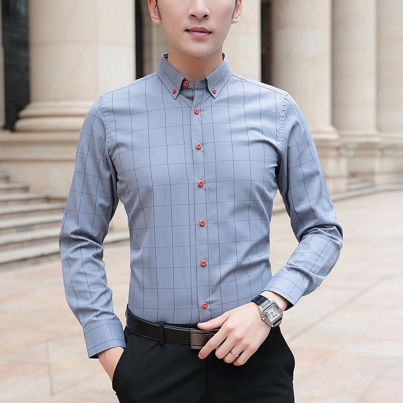 2021 новые мужские хлопковые рубашки в клетку с длинным рукавом, тонкие обтягивающие рубашки, рубашки для мальчиков Модная Повседневная Дело...