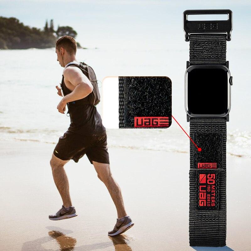 Correa para apple watch banda 44 mm 42mm 40mm 38mm nylon transpirable y pulsera a prueba de sudor para iwatch 5/4/3/2/1