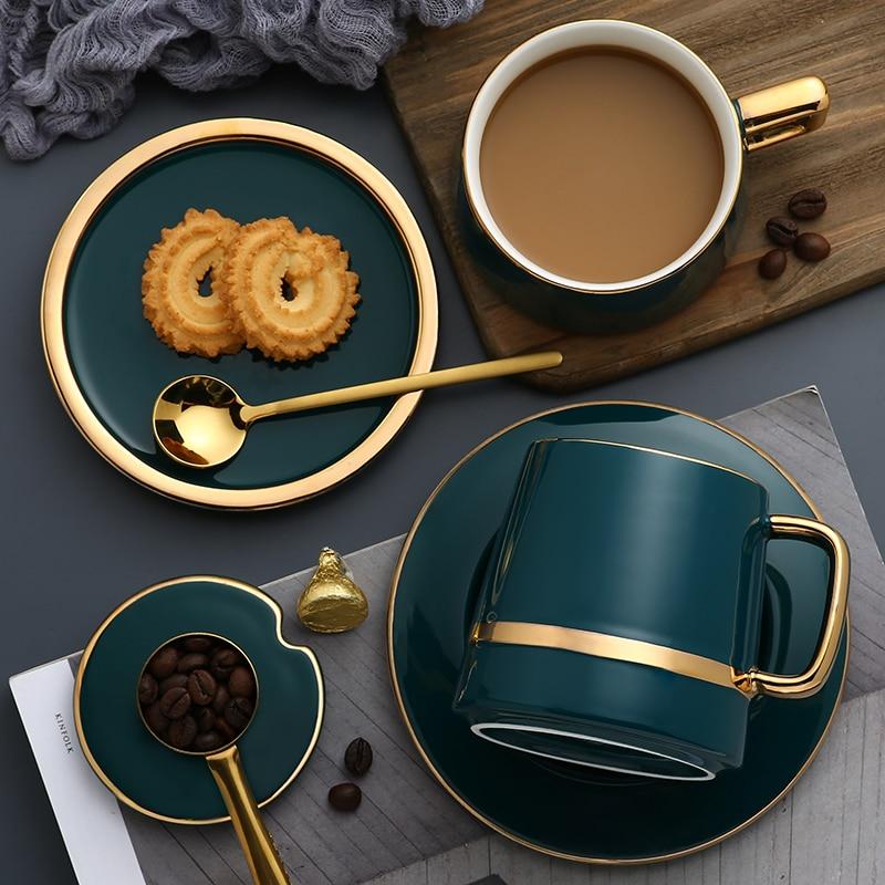 فنجان القهوة كوب سيراميك مع ملعقة بغطاء كوب الاتجاه الإبداعي شخصية بسيطة زوجين شرب كوب المنزل