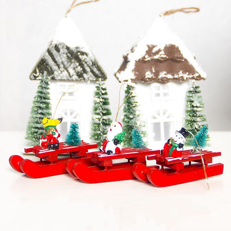 2020 colgantes de madera de Navidad DIY Año Nuevo Santa Claus muñeco de nieve con trineo árbol de Navidad adornos colgantes para la decoración del hogar de fiesta