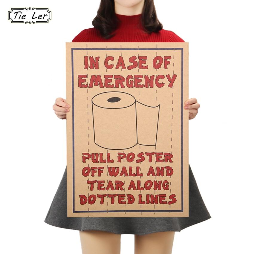 Cartel de película TIE LER, papel Kraft, divertidos carteles de adorno de papel higiénico, pegatinas de papel para pared afiches para paredes