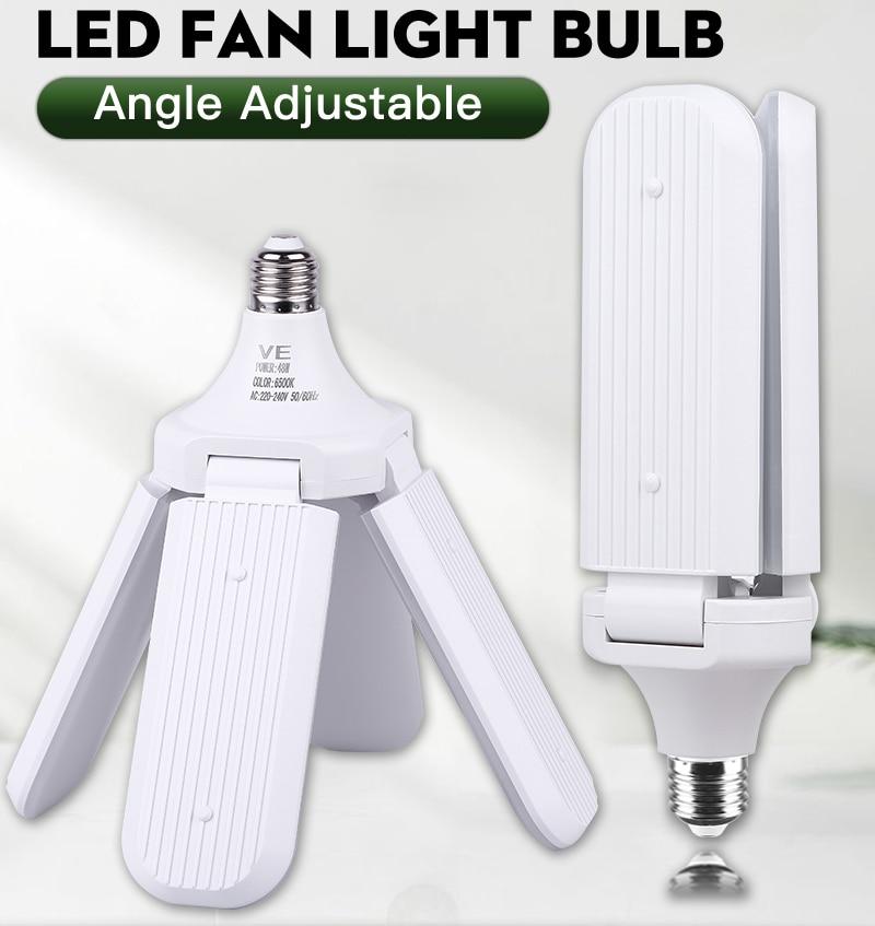 Fan Blade LED Bulb 60W Super Bright Garage Lights 45W Adjustable E27 LED Fan Lamp LED Light  For BedroomLiving Room