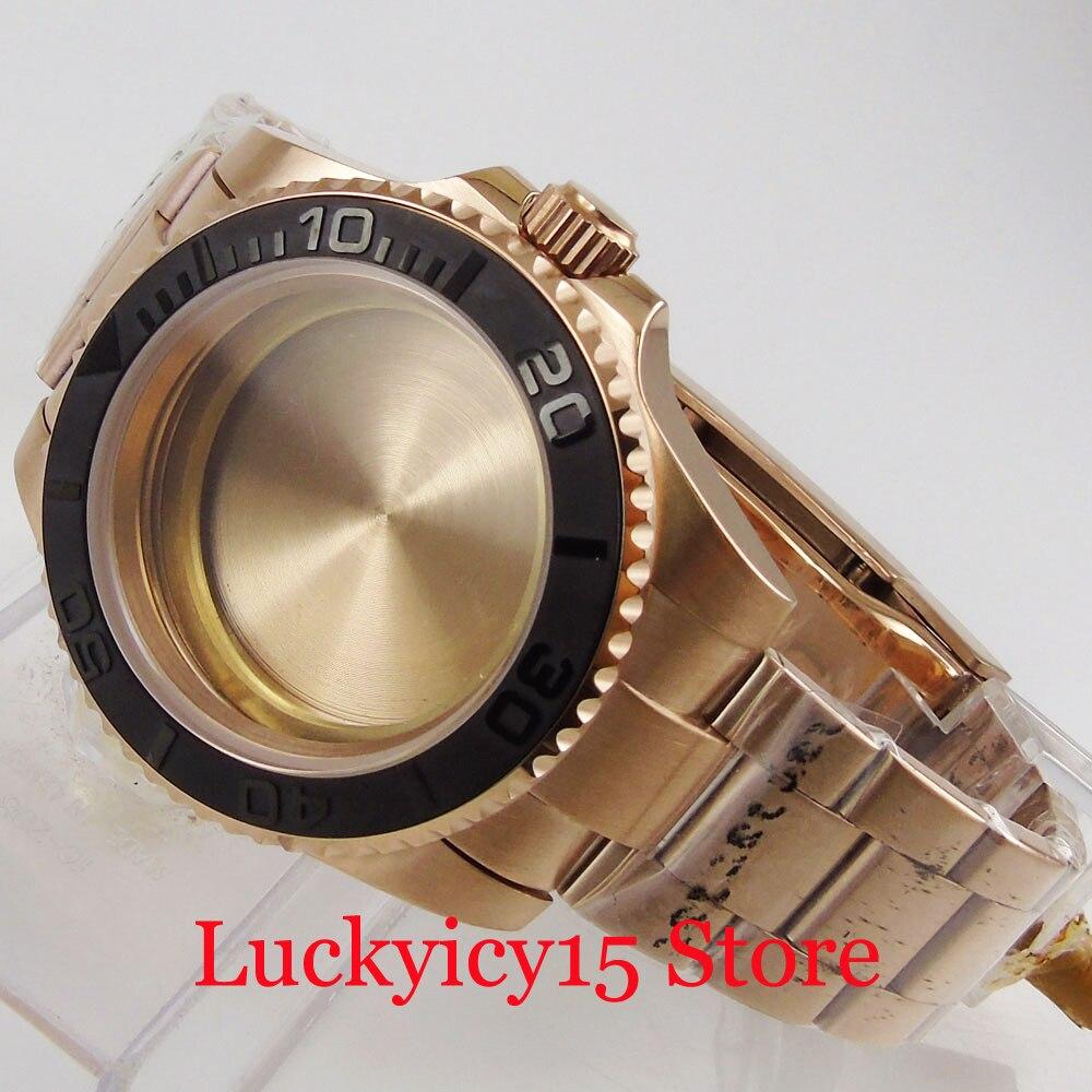 Case + Pulseira de Relógio Alta Qualidade Ouro Rosa Revestido Relógio Masculino Ajuste Eta 2836 Miyota Movimento Automático