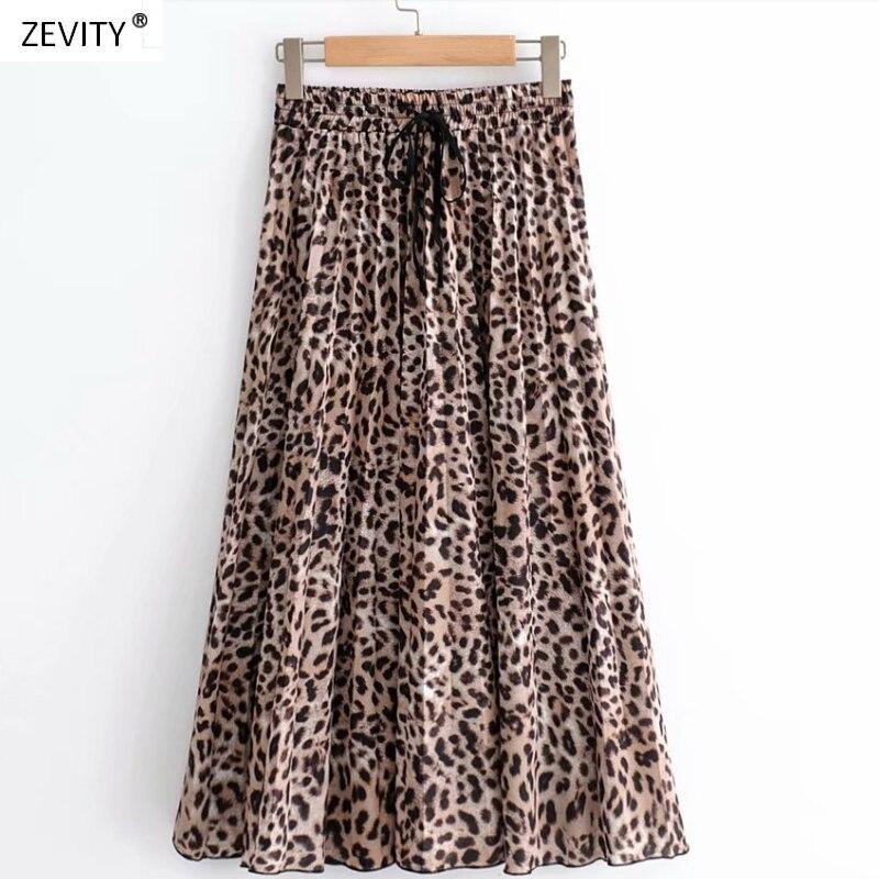 2018 New Women Vintage leopard printing pleated midi skirt faldas mujer ladies elastic waist sashes chic mid-calf skirts QUN119