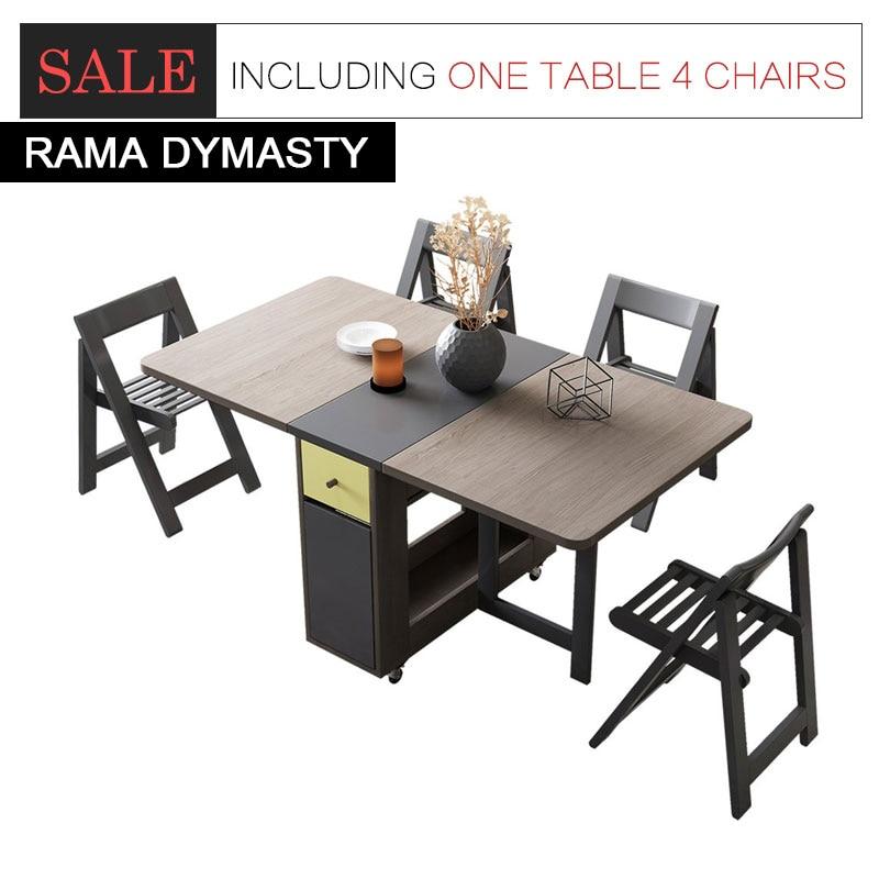 طاولة طعام قابلة للطي ، أثاث عصري ، طاولة طعام مستطيلة متعددة الوظائف مع 4 كراسي