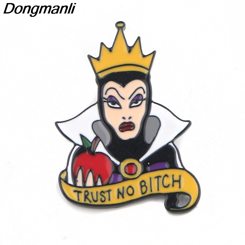 P4049 hurtownie 20 sztuk/partia Funny biżuteria zła królowa Metal emalia szpilki i broszki fajne klapie odznaka przyjaciel prezenty