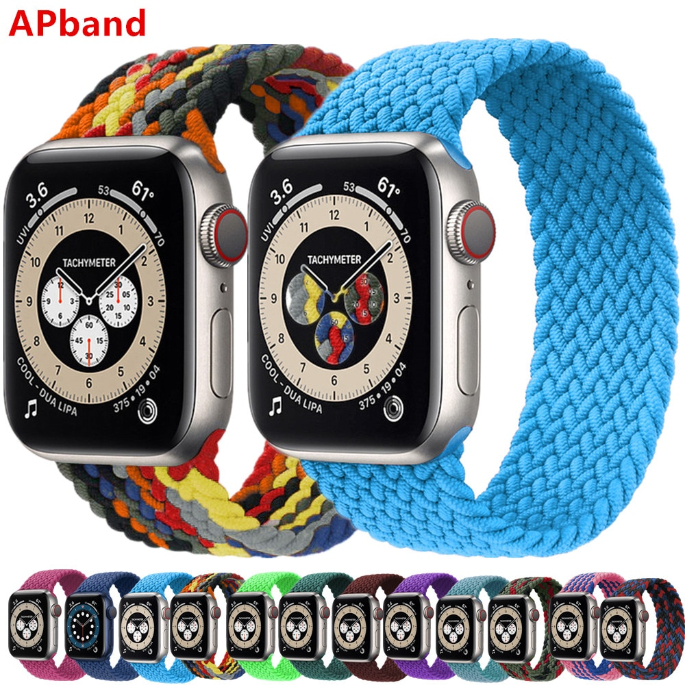 Braided Solo Loop For Apple Watch band 44mm 40mm 42mm 38mm Fabric Nylon Elastic Belt Bracelet iWatch