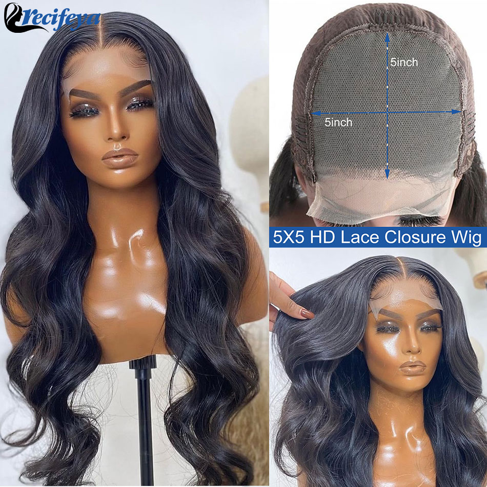 HD 5x5 Body Wave Lace Closure Wig 28 30 Inch 100% Remy Human Hair Lace Wigs 13X4 Brazilian Body Wave Human Hair Lace Front Wig