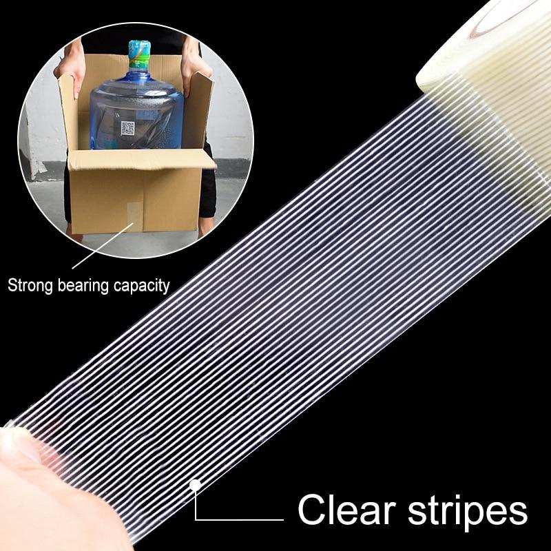 50M / roll Fiber Tape Super Stripe Transparent Single Side Tape Wear Resistant Glass Fiber Reinforced Toy Airplane Model Tape