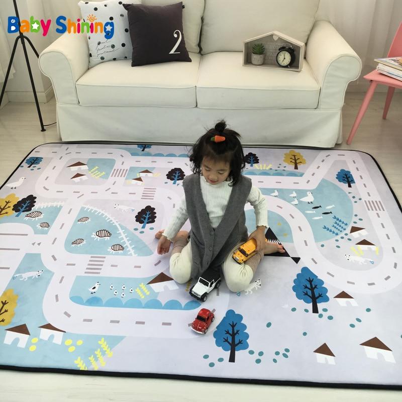 Детский Блестящий коврик, толщина 1,5 см (0,6дюйма), детский игровой вельветовый коврик, 150*200 см (60*78,7 дюйма), нескользящий детский коврик для ползания