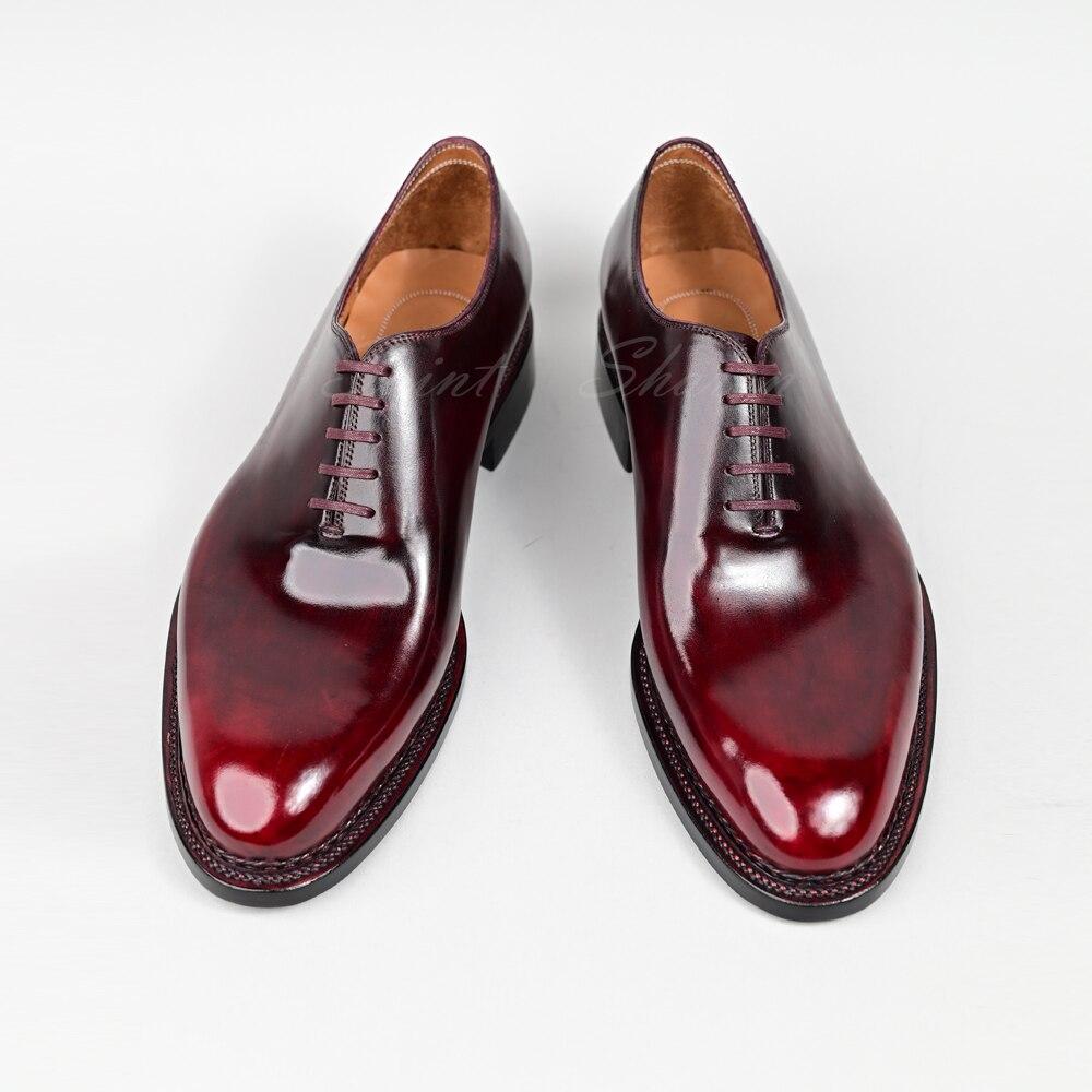 مخيط يدويا عالية الجودة جلد العجل الفاخرة أحذية رجالي مكتب الأعمال فستان الزفاف النبيذ الأحمر أكسفورد