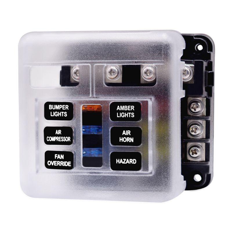 2020 nueva caja de fusibles con luz LED indicadora y cubierta de protección Panel de bloque de circuito 6 vías