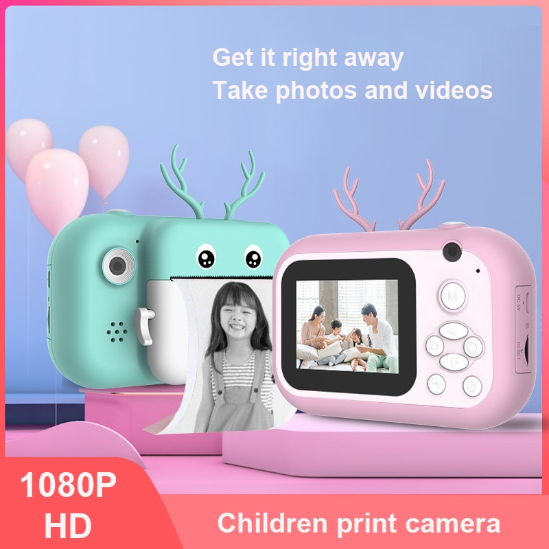 Kids Instant Camera For Children Print Camera 1080P Digital Camera For Kid Photo Camera Toy Christmas Gift For Girl Boy Print