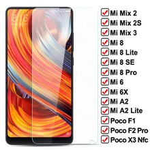 9H Tempered Glass For Xiaomi POCO X3 NFC F1 F2 Pro Screen Protector Glass Mi Mix 2 2S 3 Mi8 SE 8 A2