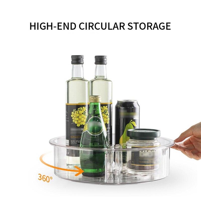 360 Вращающийся органайзер для шкафа 12 дюймов стойка для хранения косметики для питья специй PET прозрачный поворотный стол для кухни ванной комнаты-2