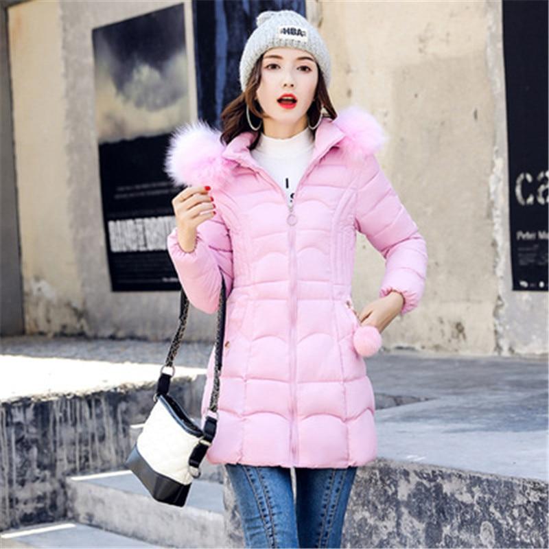 معطف الشتاء النساء النسخة الكورية من مقطع طويل من وسادة مبطنة سميكة للحفاظ على الدفء أسفل سترة قطن الفراء كبير طوق