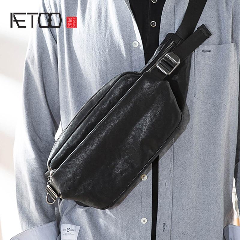 حقيبة صدر للرجال من AETOO ، حقيبة مائلة جلدية للرجال ، حقيبة جلد للرجال ، حقيبة جلد ناعمة متعددة الوظائف حقيبة صدر للرجال
