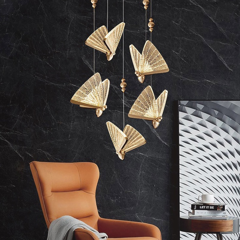 Modern Led pendant Lights Nordic Hot Sale Butterfly lamp Chandelier Bedside Staircase Bedroom Restaurant Hanging Lamp Hallway