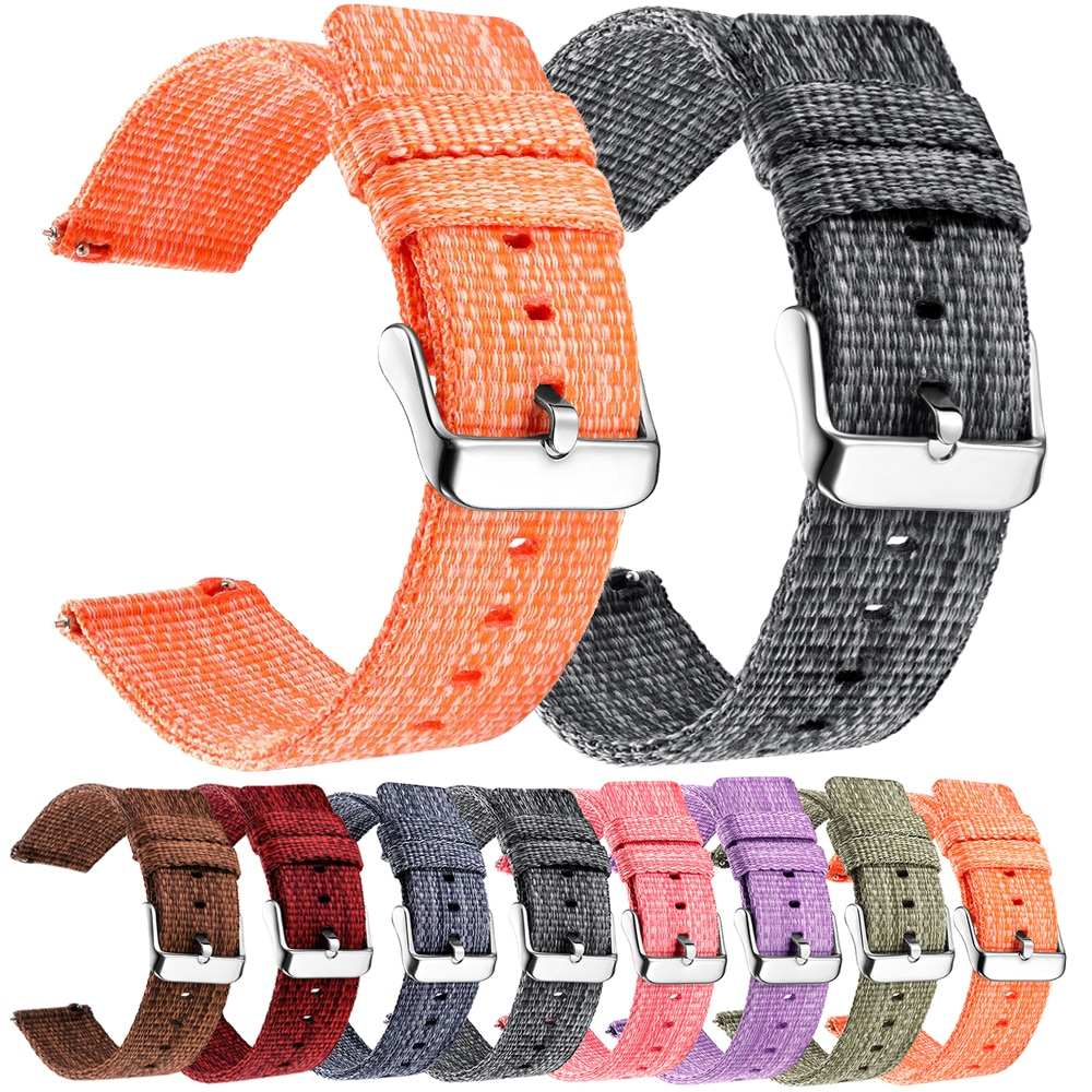 Купить с кэшбэком 18mm 20mm 22mm 24mm Nylon Watch Band For Samsung Galaxy Watch 42 46 active2 Gear S3 Frontier Amazfit Xiaomi Sport Woven