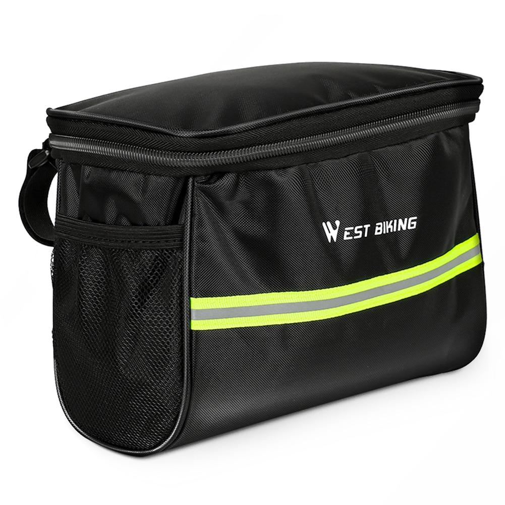 Bike Handlebar Bag Large Capacity Cycling Handlebar Water Resistant Storage Bag Mountain Bicycle Front Frame Bag Pannier Pouch