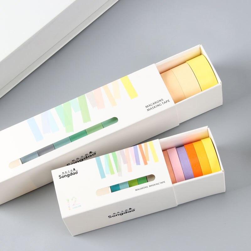 12 pçs base de doces cor pura washi fita para diário material diy scrapbooking fita decorativa artigos de papelaria material escolar