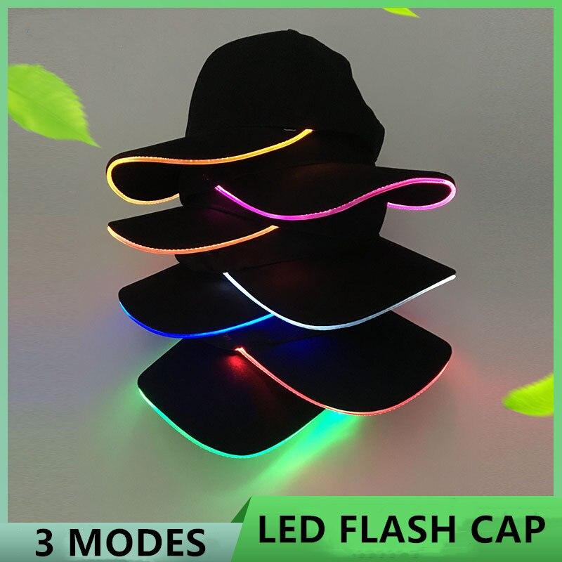 LED Light Flash Headlight Baseball Cap New Fashion LED Lighted Glow Club Party Black Fabric Traveling Hat Baseball Cap Headlamp