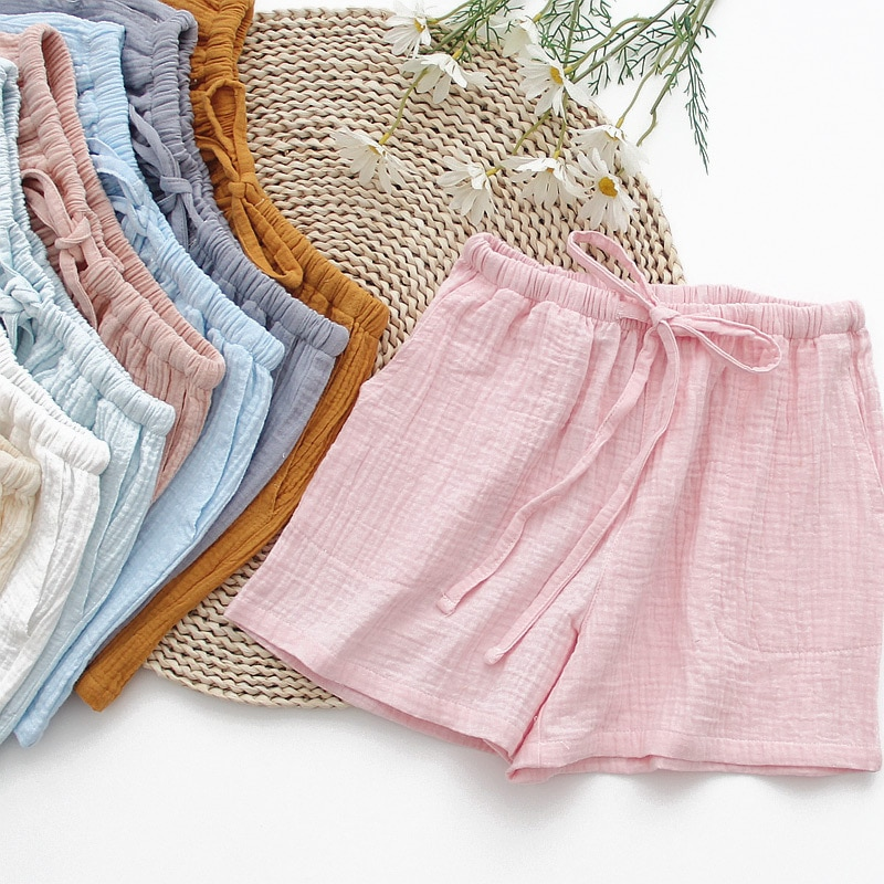New summer ladies 100% cotton crepe solid color shorts multicolor loose casual home pants women  paj