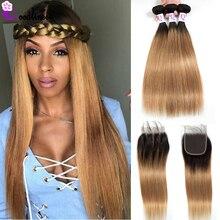 Goodliness Ombre Bundels met Sluiting 1B/27 Blonde Ombre Peruaanse Haar Weave Straight Menselijk Haar 3 Bundels Met Sluiting remy