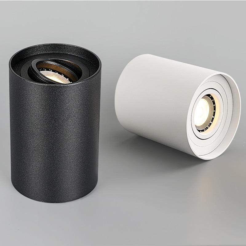 Luz descendente LED regulable montada en superficie + bombilla LED GU10 reemplazable 9W 12W 15W, foco de techo de LED 3000K/4000K/6000K