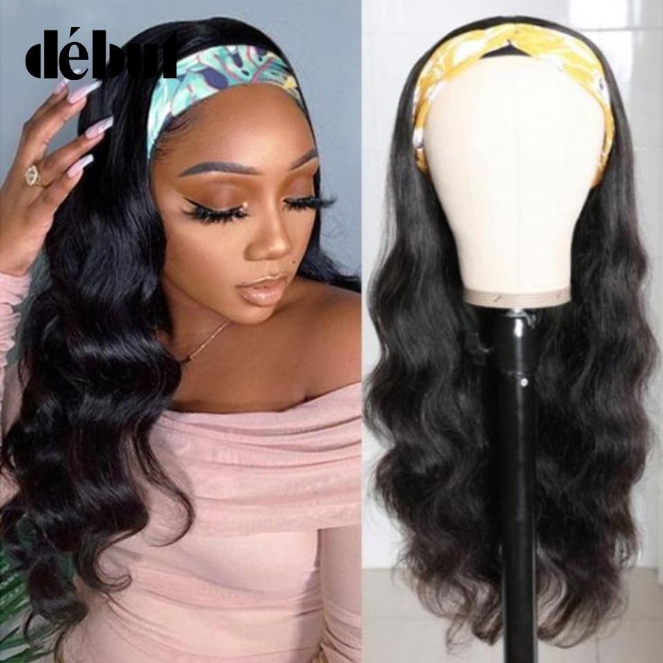 Debut Non Lace Human Hair Wigs Brazilian Body Wave Wigs For Black Women 20Inchese glueless Natural Black Cheap Human Hair Wigs