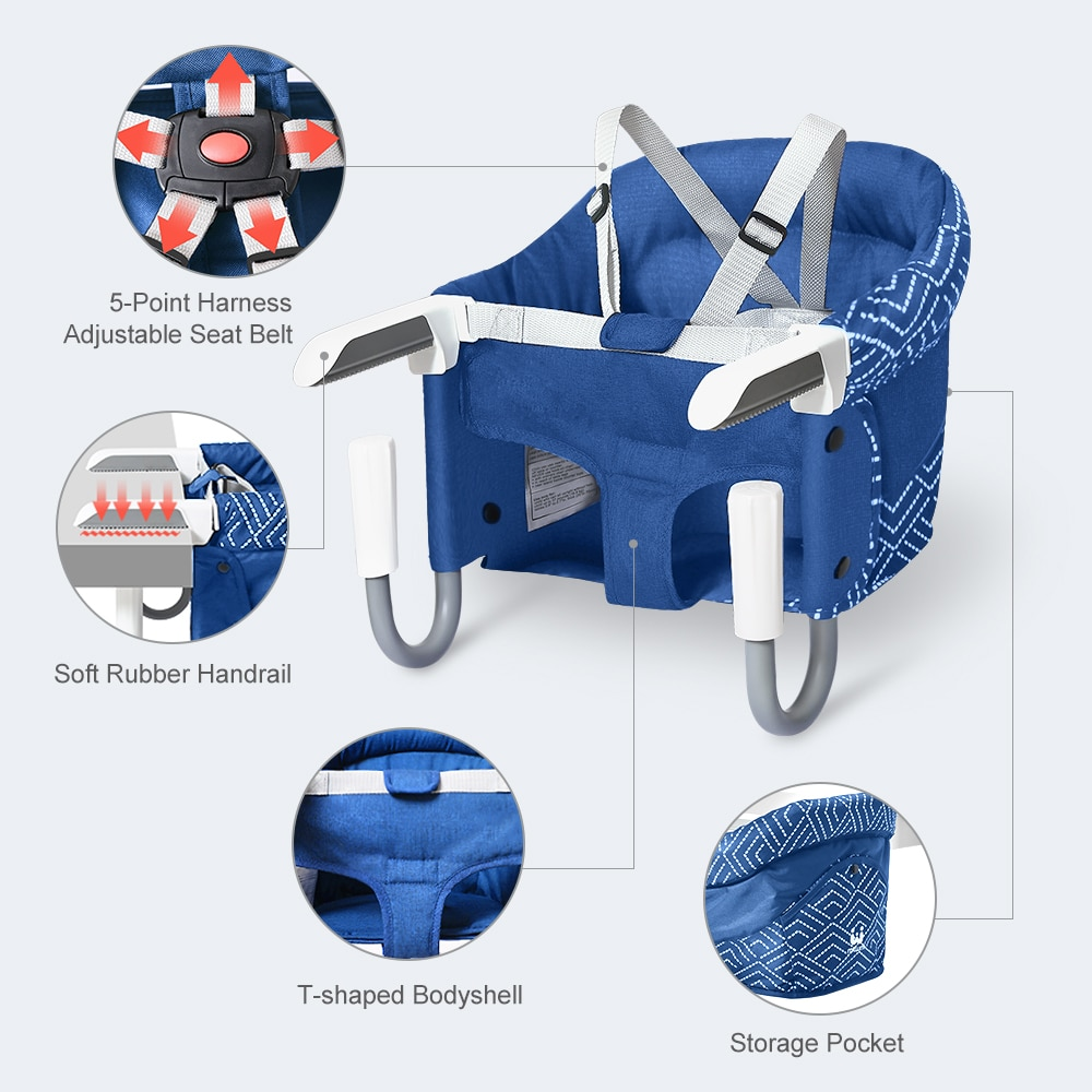 Portable Baby Chair Foldable Feeding High Chair Children Table Side Dining Chair Kid Belt Booster Seat Hook on Chair Dinner Mini