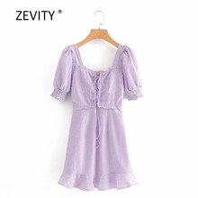 Zevity-robe vintage à carreaux pour femmes, mini robe à bandes, col carré, à volants, ligne A, style à lacets, DS4024, collection décontracté