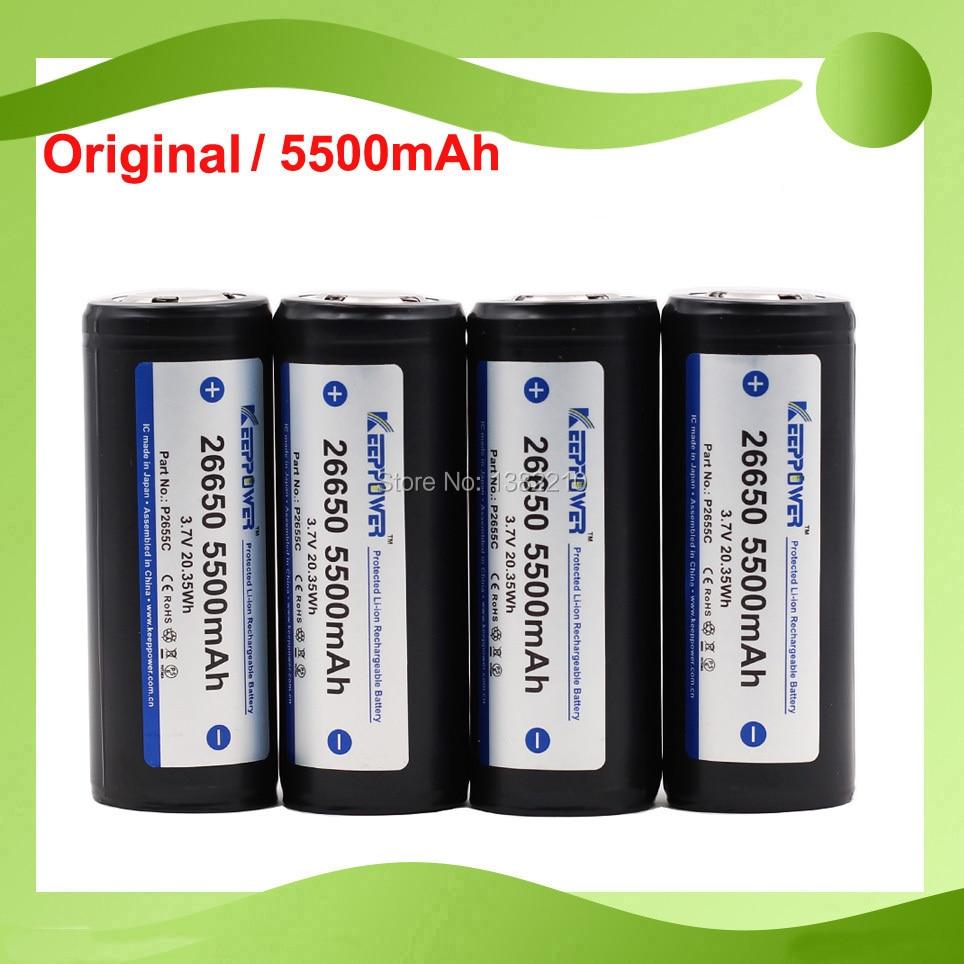 4 piezas Original Keeppower 2019 modelo 3,7 V 26650 ICR26650 5500mAh linterna protegida batería traje para caravana L6