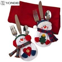 8 pièces décorations de noël bonhomme de neige rangement argenterie ornements de noël pour tables nouvel an décor à la maison