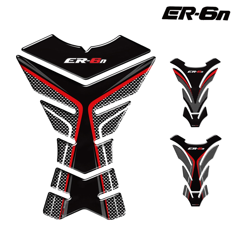 For Kawasaki ER6N ER-6N Tankpad 3D Carbon Fiber Motorcycle Fuel Tank Pad Fuel Tank Protection Sticker