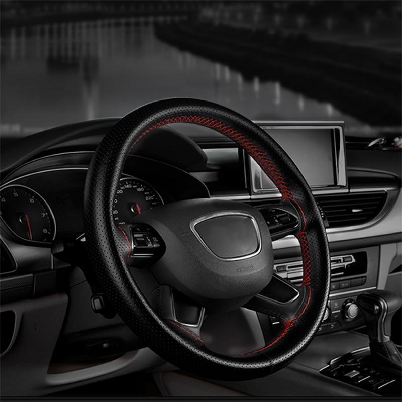 Couverture de volant en cuir véritable tressé   1 pièce bricolage, taille universelle, noir, Beige, gris, marron, accessoires de voiture