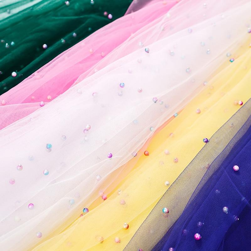 1M/2M/5M Width 150cm Rainbow Glitter Pearls Organza Tulle Fabric for Wedding Party Dress Skirts Clothes Decoration DIY Fabrics