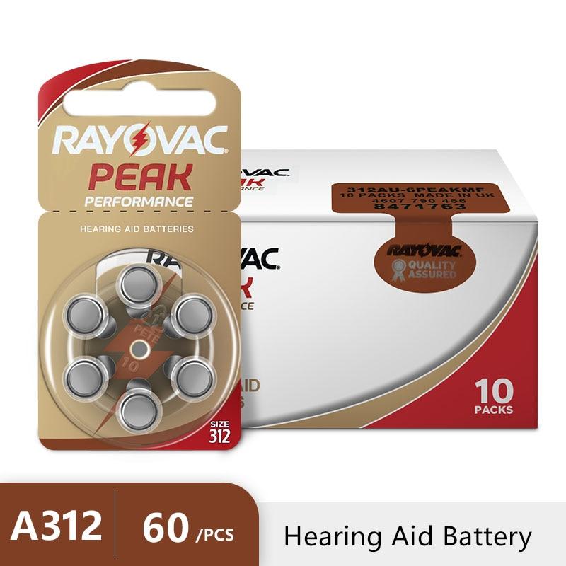 60 pcs Rayovac Peak Hearing Aid Batteries A312 312A ZA312 312 PR41 U недорого