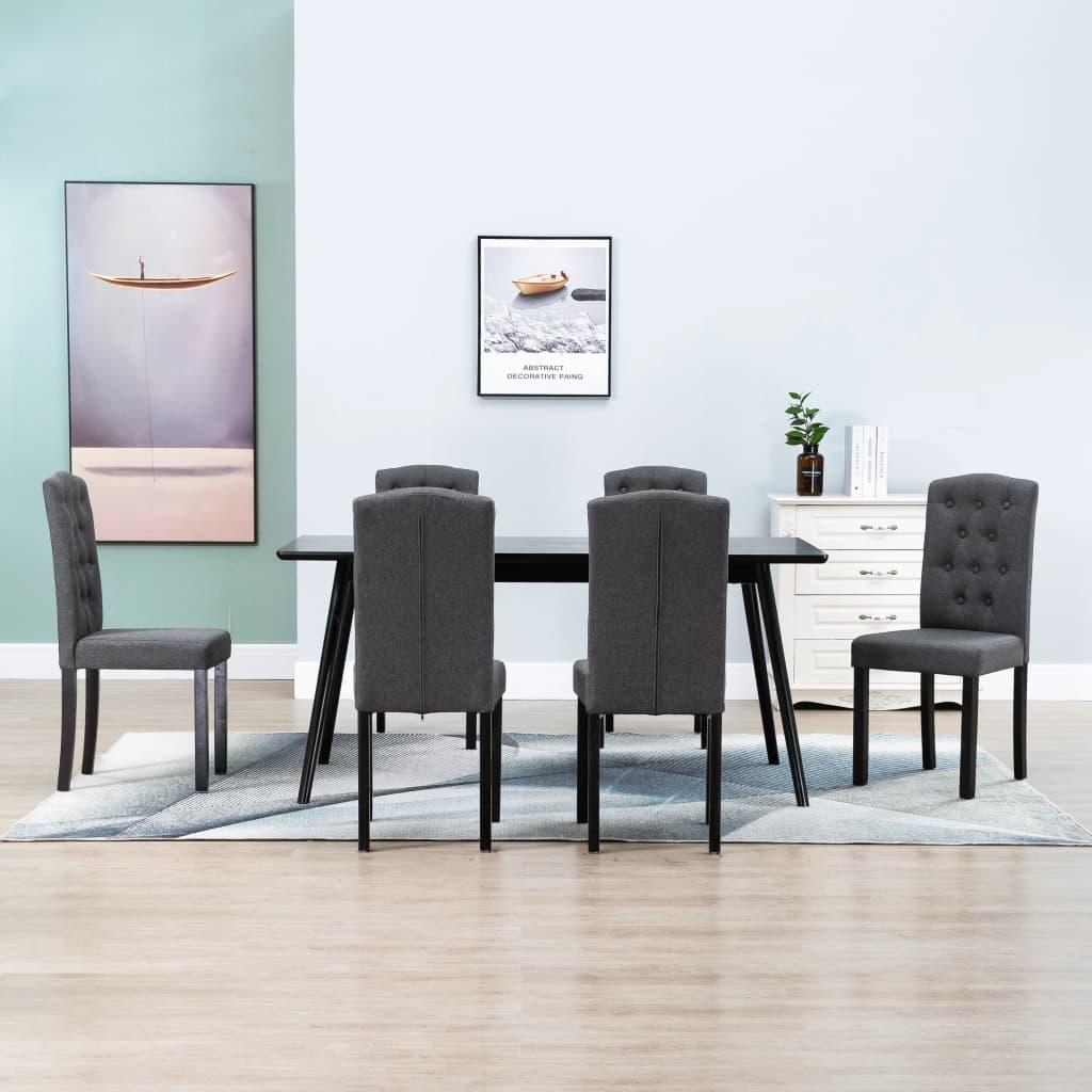 الطعام الكراسي 6 قطعة الظلام قماش رمادي
