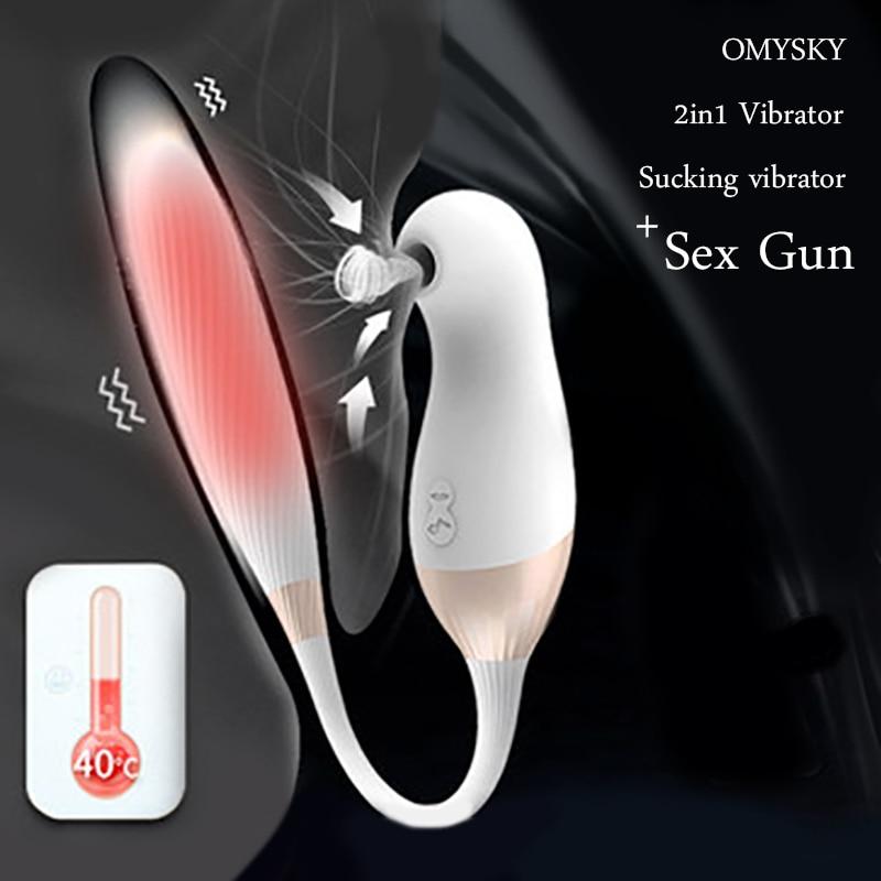 OMYSKY 2 In 1 Vibrator Magnetic Motor Sex Machine Gun Sucking Clitoral Stimulator Heating Dildos Vibrator Sex Toys For Women