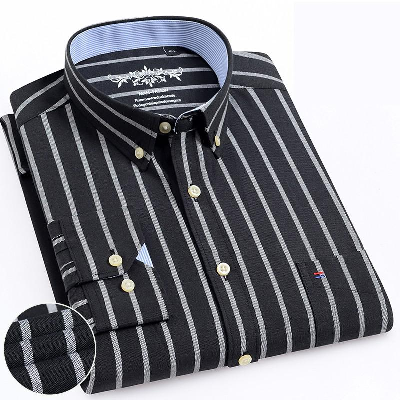 2019 Mens Long Sleeve Solid Oxford Dress Shirt Male Casual Regularwith Left Chest Pocket Tops Button Down Shirts