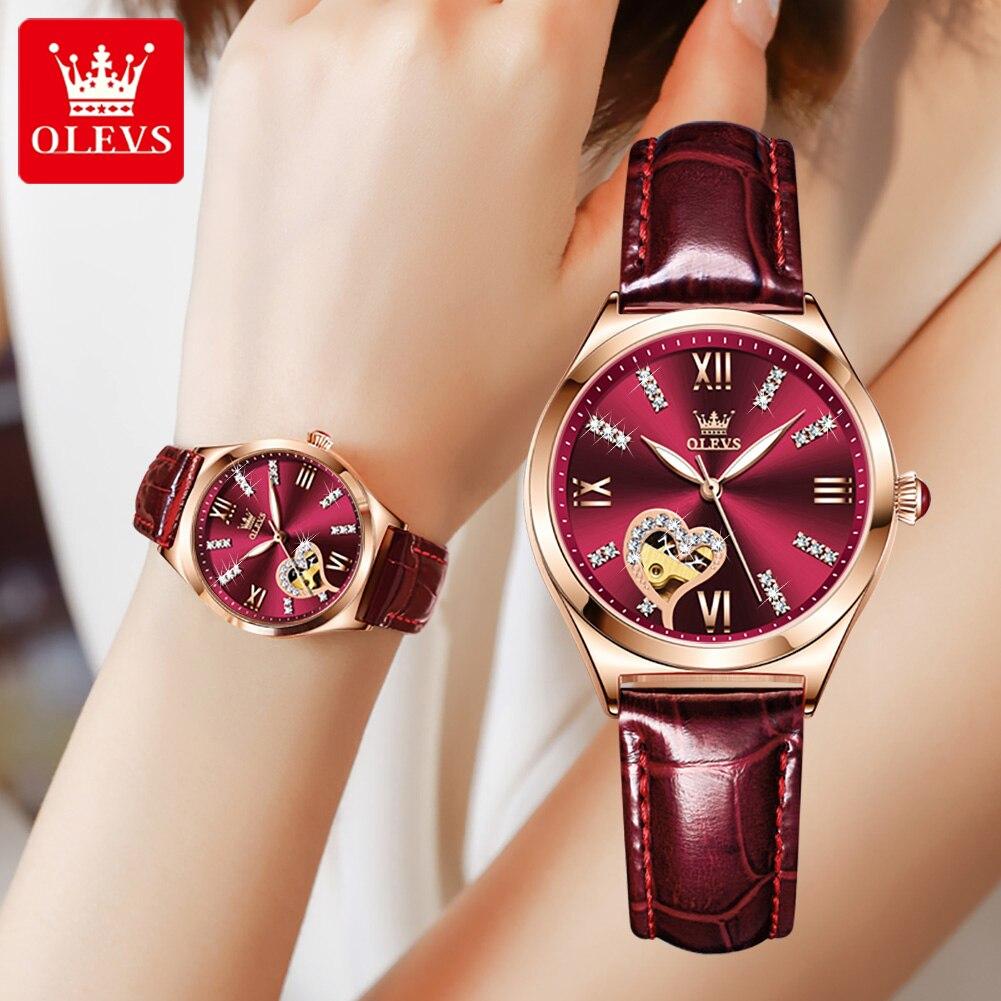 2021 OLEVS الإبداعية الجلود السيدات سوار ساعة جوفاء الإناث مقاوم للماء ساعة العلامة التجارية السيدات طقم ساعات Reloj de mujer 6636
