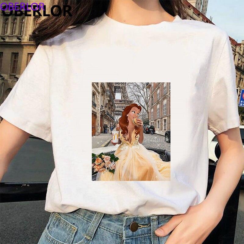 Camisetas Verano Mujer 2020 Grappige Belle Houdt Hamburger & Cola T Shirt Vrouwen Harajuku Streetwear Gedrukt Tshirt Gothic Katoen Tops