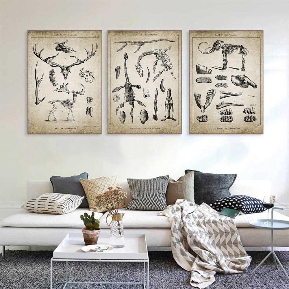 Póster Vintage con diseño de elefante y dinosaurio, póster artístico con motivos de animales, esqueleto fósil, lienzo, imágenes artísticas para pared, Decoración Química del hogar