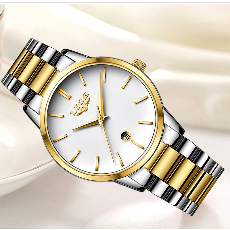 LIGE 2020 New Gold Watch Women Watches Ladies Creative Steel Women's Bracelet Watches Female Clock Relogio Feminino Montre Femme enlarge